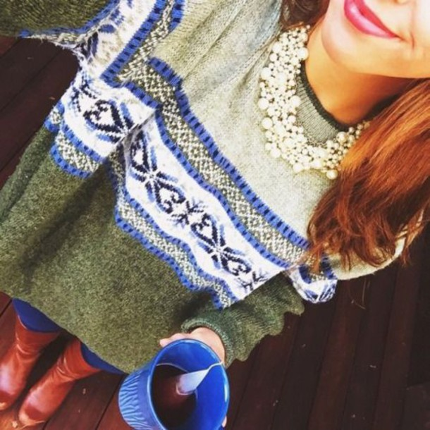 sweater green boho loose