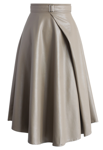 skirt neutral faux leather belted skirt in taupe chicwish fuax leather belted taupe