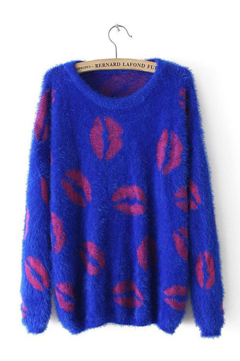 2013 Autumn & Winter New Section Lip Printed Long Sleeve Crewbeck Knitted Sweater,Cheap in Wendybox.com