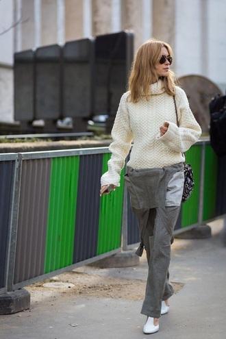 pants khaki sweater white sweater knit knitted sweater khaki pants overalls dungarees turtleneck sweater