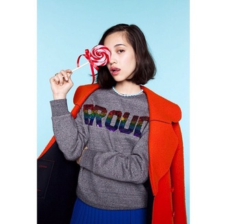sweater gray rainbow pride quote sweater sparkles sequin kiko mizuhara japanese streetstyle blouse quote on it streetwear