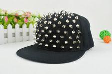 Unisex hip hop sliver spikes studded snapback hats rock cap adjustable baseball