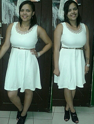 white dress gold belt studs pearl bracelet wedge heels plus size dress