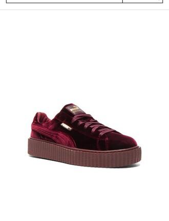 shoes pumas red velvet rihanna fenty menswear