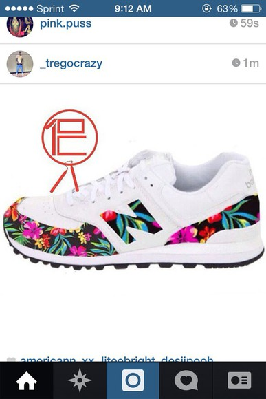 shoes floral pink new balance blue