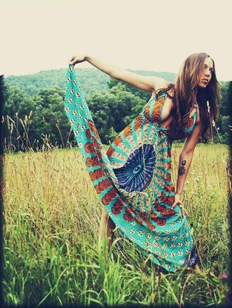 dress tie dye blue dress multicolor long dress sundress hippie peacock