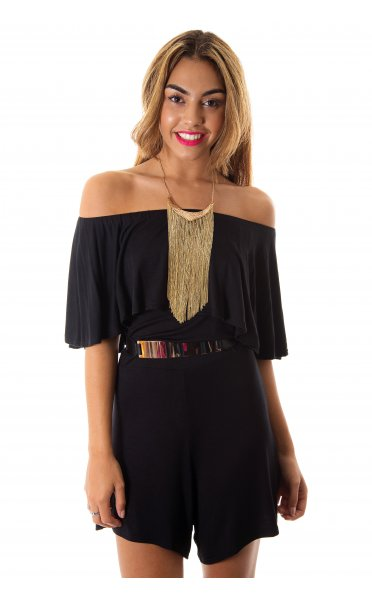 I'm Yours Black Frill Layer Playsuit - from The Fashion Bible UK