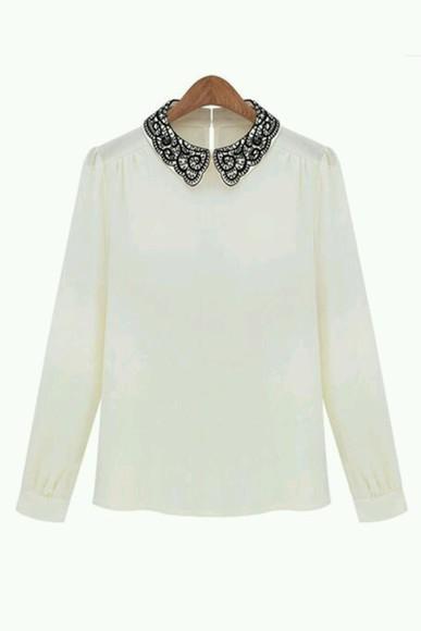blouse white blouse lace collar black collar necklacebip