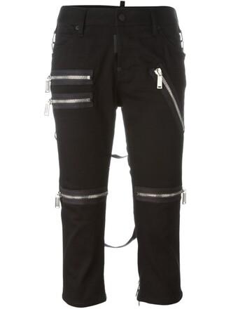 cropped zip black pants