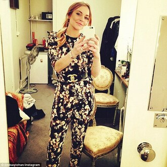jumpsuit lindsay lohan floral pants top