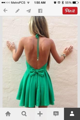 green dress short dress mint dress summer dress cute summer dress bow back dress bows halter