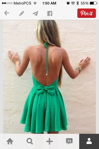 summer dress cute summer dress short dress green dress mint dress Bow Back Dress bows halter