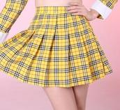 skirt,yellow,plaid,checkered,clueless,cher clueless yellow plaid skirt blazerer,pleated,pleated skirt,plaid skater skirt