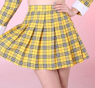 skirt yellow plaid checkered clueless cher clueless yellow plaid skirt blazerer pleated pleated skirt plaid skater skirt
