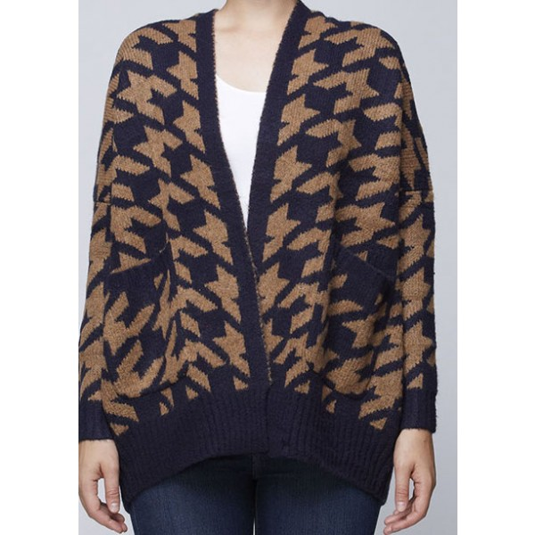 Cozy Vibe Houndstooth Cardigan - Tan - Clothing
