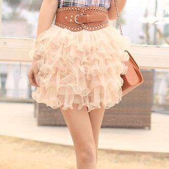 frilly skirt pink skirt belt bag