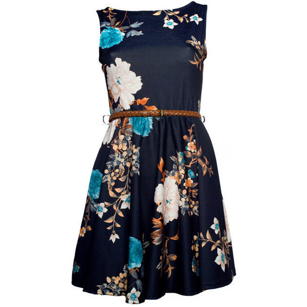 Black Oriental Floral Print Skater Dress - Clothing - desire... - Polyvore