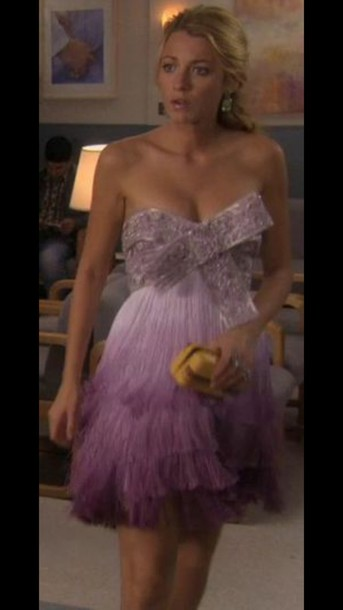 dress gossip girl dress serena van der woodsen purple dress bow dress