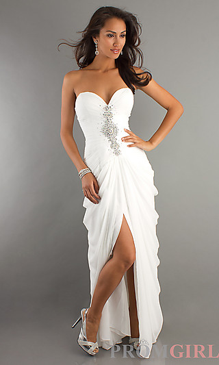Prom Dresses, Celebrity Dresses, Sexy Evening Gowns at PromGirl: Long White Formal Gown by Shimmer