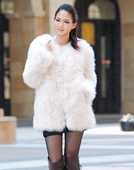 New Real Farm Ostrich Feather Fur Turkey Fur Coat Jacket Long Sleeve Warm | eBay