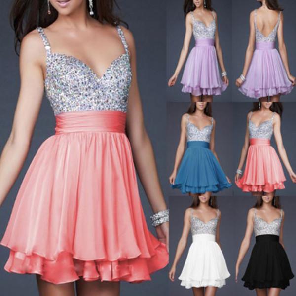 dress formal prom short beaded black white pink purple blue navy lavender mini spaghetti strap elegant backless
