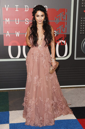 dress gown vanessa hudgens maxi dress plunge v neck plunge dress vma necklace
