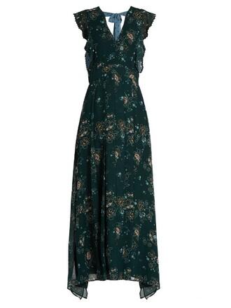 dress back floral print green