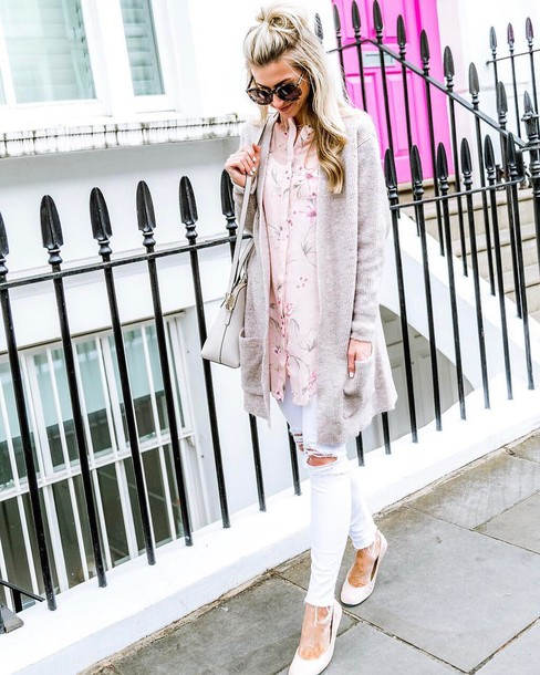 74ee5feb70 shirt tumblr pink shirt cardigan grey cardigan denim jeans white jeans  white ripped jeans ripped jeans