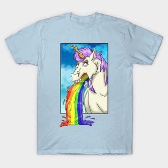 shirt puke blue unicorn rainbow frame horse neck internet fashion humanshirt clothes set pajamas diy