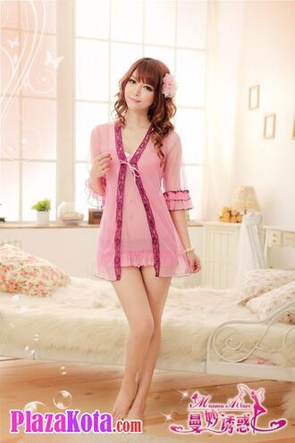 pink underwear manmu allure robe lingerie robe short night wear lingerie babydoll lingerie nightwear babydoll nightie chemise chinese