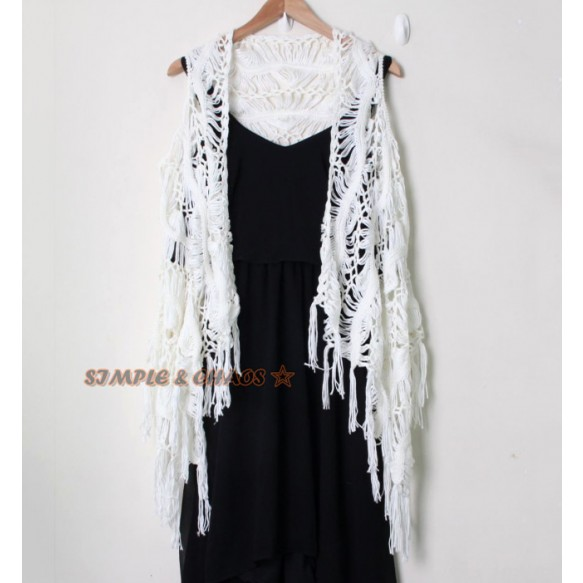 Open Knit Vest With Fringed Hem at Style Moi