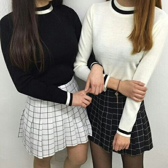 skirt grid black and white white black sweater plaid skirt pleated skirt