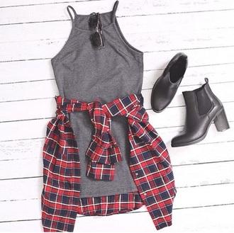 dress grey dress tank top flannel shoes