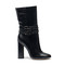 Black leather short boots