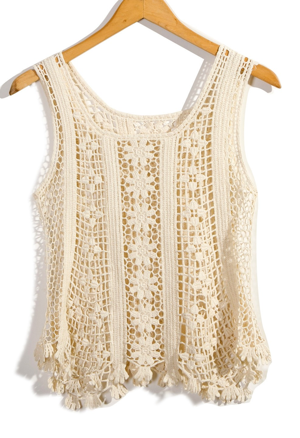 Crocheting On Top Of Crochet : ... white Sleeveless Top - Ivory Floral Sleeveless Crochet Top UsTrendy