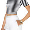 Romwe striped midriff elastic white-black t-shirt