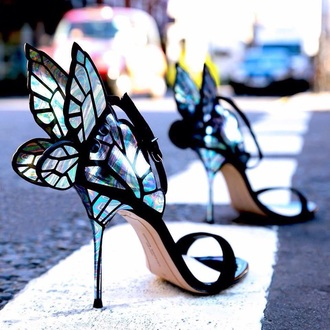 shoes high heels butterfly high heel sandals black