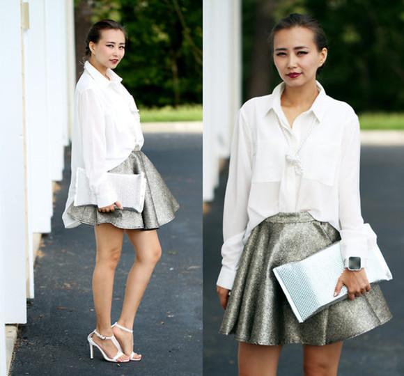 skirt blouse mini skirt skater skirt silver skir metallic skirt