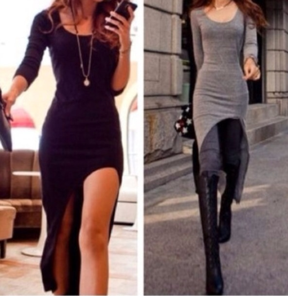 Asymmetrical hem long sleeve dress