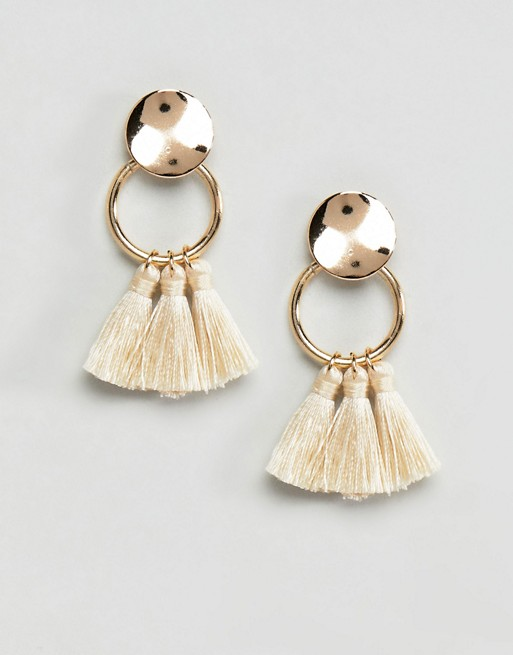 ASOS DESIGN Small Ring Tassel Earrings at asos.com