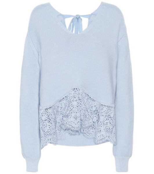 Stella McCartney Crochet-paneled cotton sweater in blue