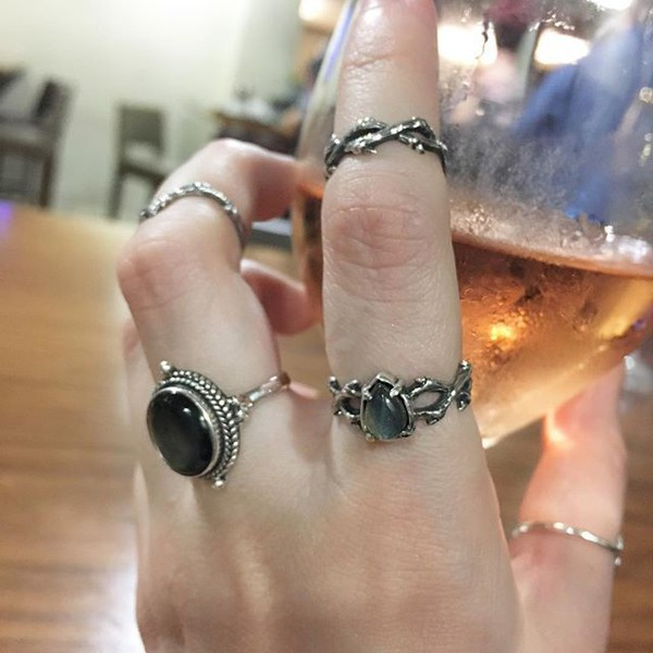 jewels shop dixi black pearl witchy sterling silver ring jewelry boho bohemian grunge goth