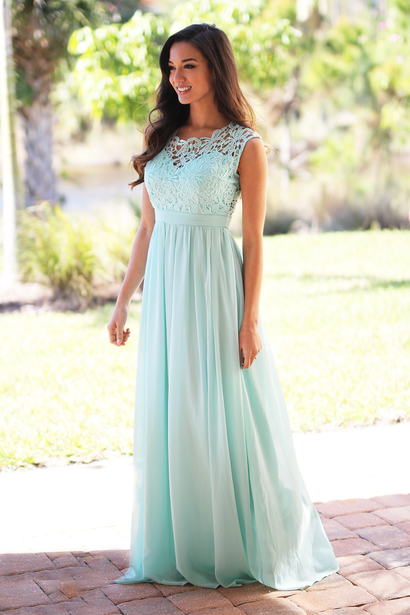 c8cda94cb4e9 Mint Crochet Maxi Dress with Tulle Back