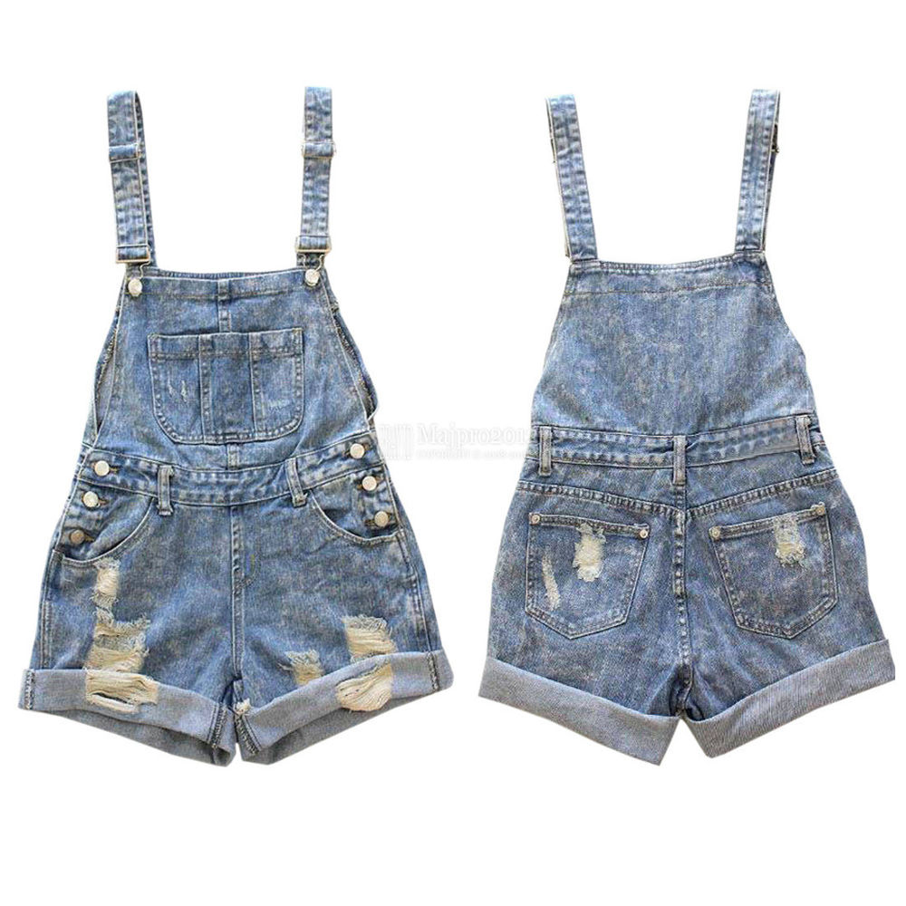 de243c64f63 Womens Distressed Washed Jeans Denim Hole Jumpsuit Romper ...