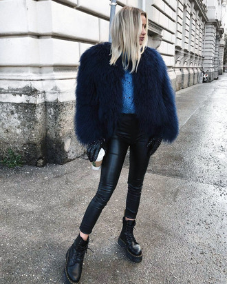 jacket tumblr fur jacket faux fur jacket blue jacket leggings black leggings leather leggings boots black boots biker boots