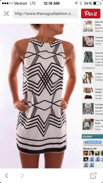 dress geometric black and white dress