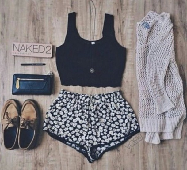 shorts cute hippie indie boho black knit tumblr weheartit summer spring sweater shoes