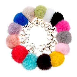 home accessory keychain color/pattern fluffy furry