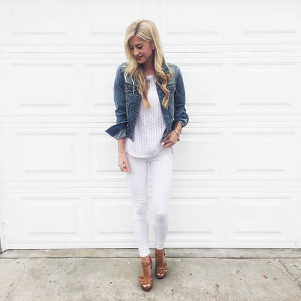 elle apparel blogger top jeans bag hat jewels dress