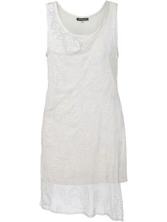 top long embroidered white